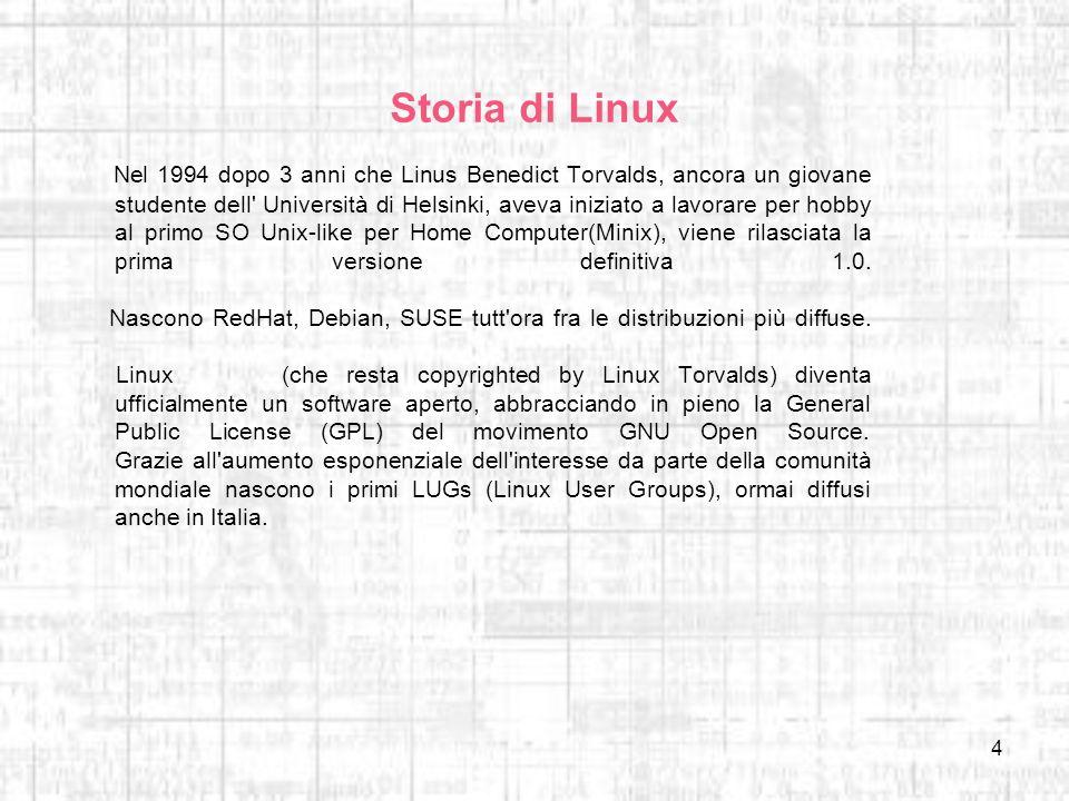 4 Storia di Linux Nel 1994 dopo 3 anni che Linus Benedict Torvalds, ancora un giovane studente dell' Università di Helsinki, aveva iniziato a lavorare