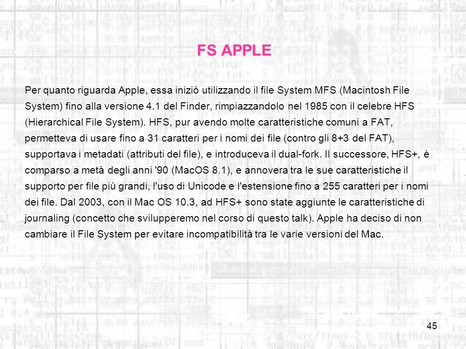 45 FS APPLE Per quanto riguarda Apple, essa iniziò utilizzando il file System MFS (Macintosh File System) fino alla versione 4.1 del Finder, rimpiazza