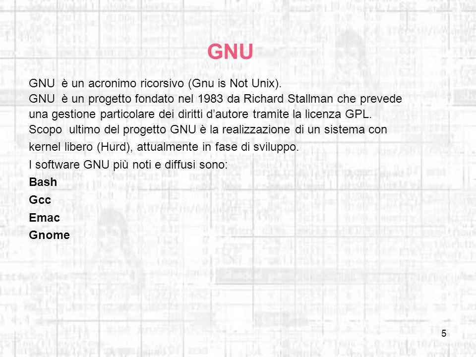 5 GNU GNU è un acronimo ricorsivo (Gnu is Not Unix). GNU è un progetto fondato nel 1983 da Richard Stallman che prevede una gestione particolare dei d