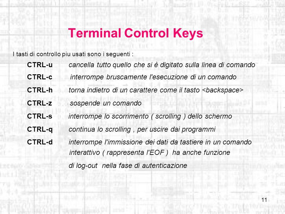 11 Terminal Control Keys I tasti di controllo piu usati sono i seguenti : CTRL-u cancella tutto quello che si è digitato sulla linea di comando CTRL-c