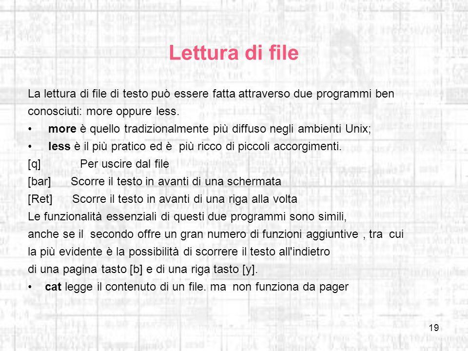 19 Lettura di file La lettura di file di testo può essere fatta attraverso due programmi ben conosciuti: more oppure less. more è quello tradizionalme