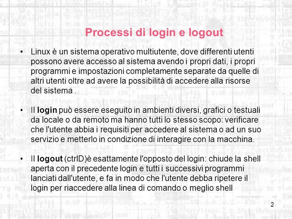 2 Processi di login e logout Linux è un sistema operativo multiutente, dove differenti utenti possono avere accesso al sistema avendo i propri dati, i