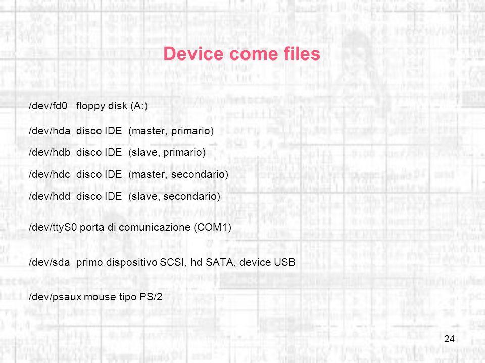 24 Device come files /dev/fd0floppy disk (A:) /dev/hdadisco IDE (master, primario) /dev/hdbdisco IDE (slave, primario) /dev/hdcdisco IDE (master, seco