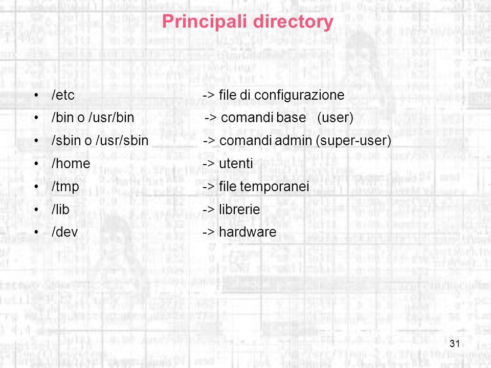 31 Principali directory /etc-> file di configurazione /bin o /usr/bin -> comandi base (user) /sbin o /usr/sbin -> comandi admin (super-user) /home-> u