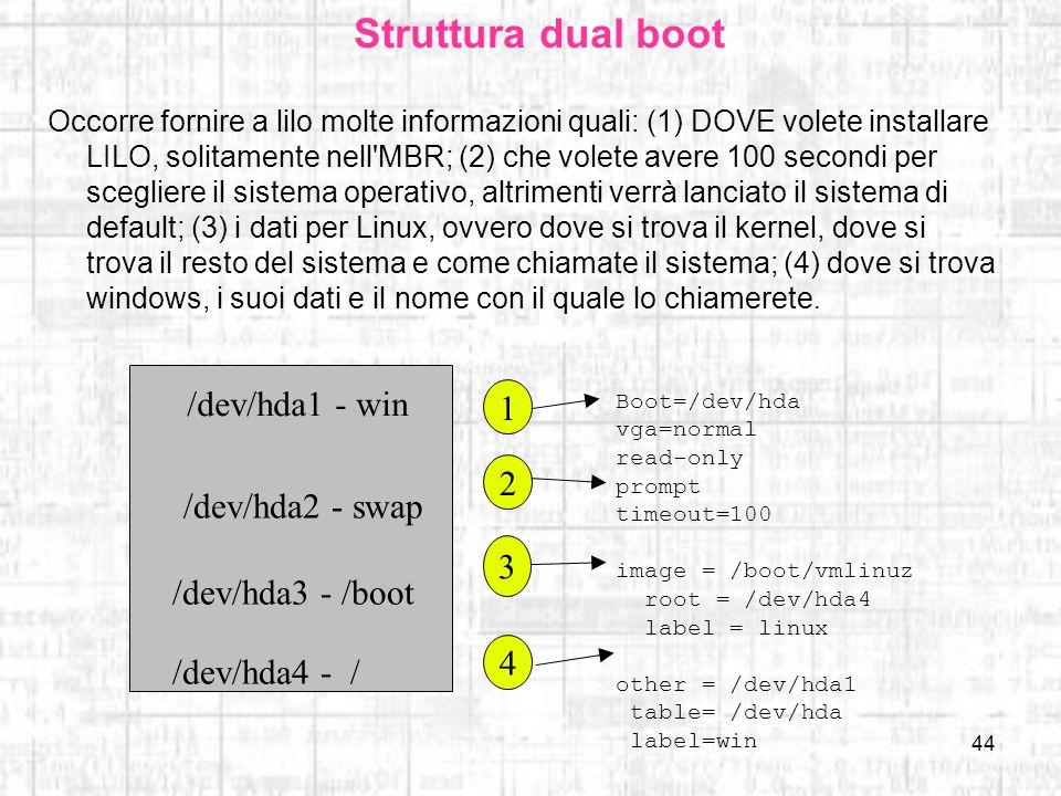 44 Struttura dual boot Occorre fornire a lilo molte informazioni quali: (1) DOVE volete installare LILO, solitamente nell'MBR; (2) che volete avere 10