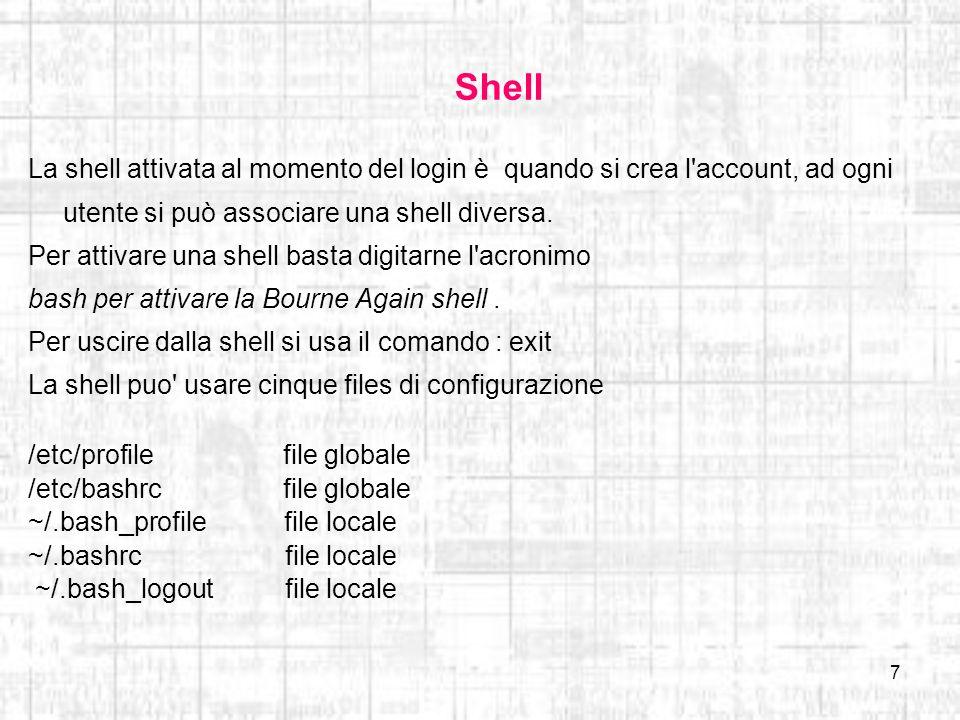8 Tipi di shell Esistono vari tipi di shellLe piu frequentemente utilizzati sono: Bourne shell (sh) la shell originale di UNIX, scritta da Steve Bourn dei Bell Labs.