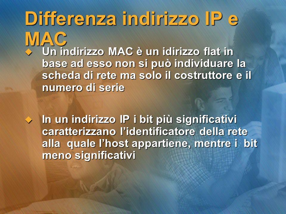 Differenza indirizzo IP e MAC Un indirizzo MAC è un idirizzo flat in base ad esso non si può individuare la scheda di rete ma solo il costruttore e il