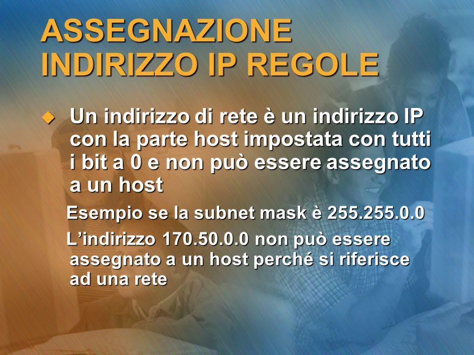 ASSEGNAZIONE INDIRIZZO IP REGOLE Un indirizzo di rete è un indirizzo IP con la parte host impostata con tutti i bit a 0 e non può essere assegnato a u