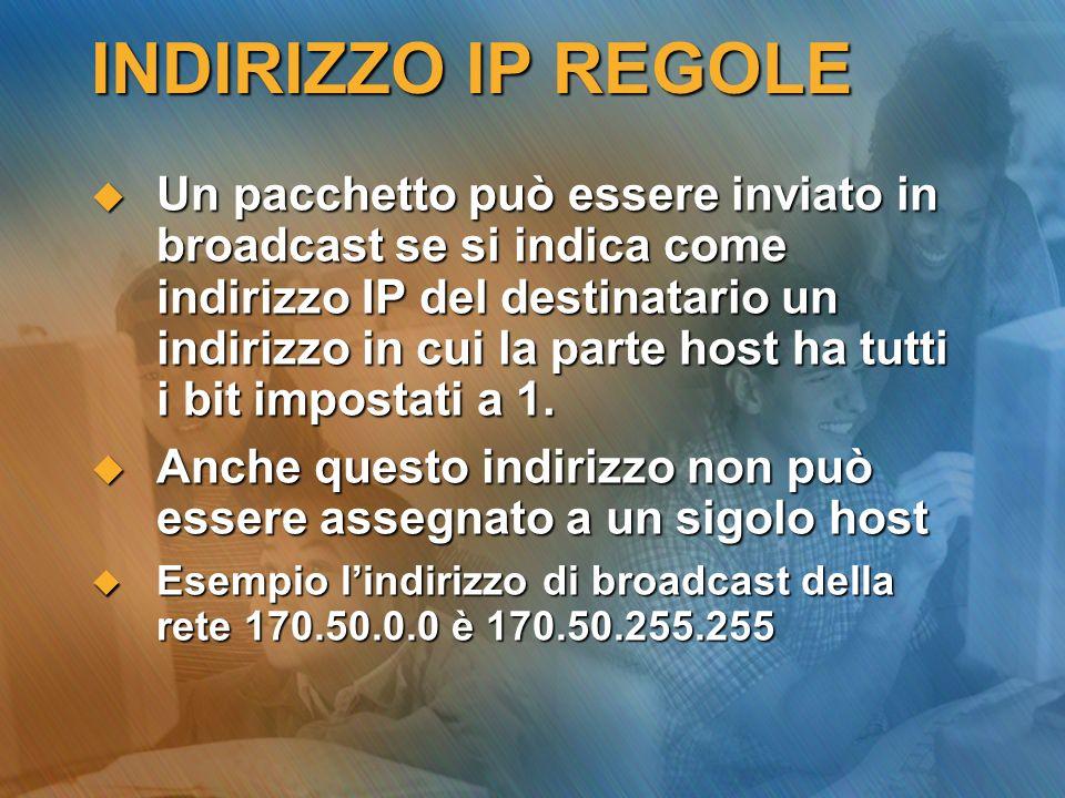 INDIRIZZO IP REGOLE Un pacchetto può essere inviato in broadcast se si indica come indirizzo IP del destinatario un indirizzo in cui la parte host ha