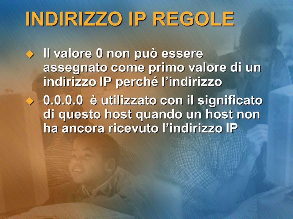 INDIRIZZO IP REGOLE Il valore 0 non può essere assegnato come primo valore di un indirizzo IP perché lindirizzo Il valore 0 non può essere assegnato c