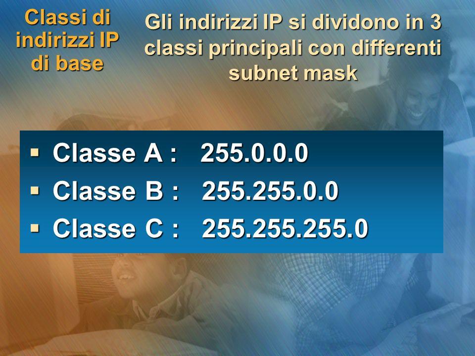 Classi di indirizzi IP di base Gli indirizzi IP si dividono in 3 classi principali con differenti subnet mask Classe A : 255.0.0.0 Classe A : 255.0.0.