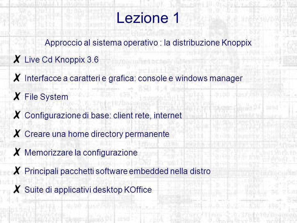 Lezione 1 Approccio al sistema operativo : la distribuzione Knoppix Live Cd Knoppix 3.6 Interfacce a caratteri e grafica: console e windows manager File System Configurazione di base: client rete, internet Creare una home directory permanente Memorizzare la configurazione Principali pacchetti software embedded nella distro Suite di applicativi desktop KOffice