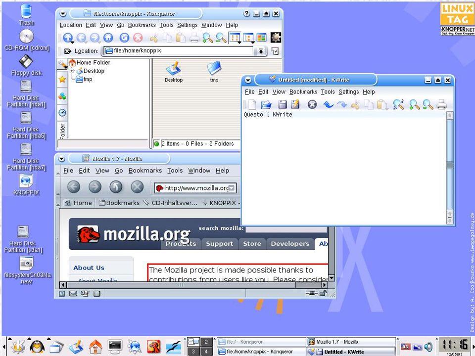 Creare una configurazione personale Il meccanismo permette di memorizzare le impostazioni del desktop, la configurazione della rete e la configurazione Knoppix.