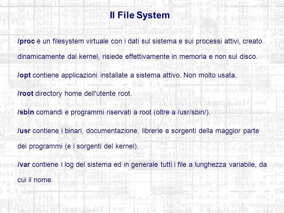 Il File System /proc è un filesystem virtuale con i dati sul sistema e sui processi attivi, creato dinamicamente dal kernel, risiede effettivamente in memoria e non sul disco.