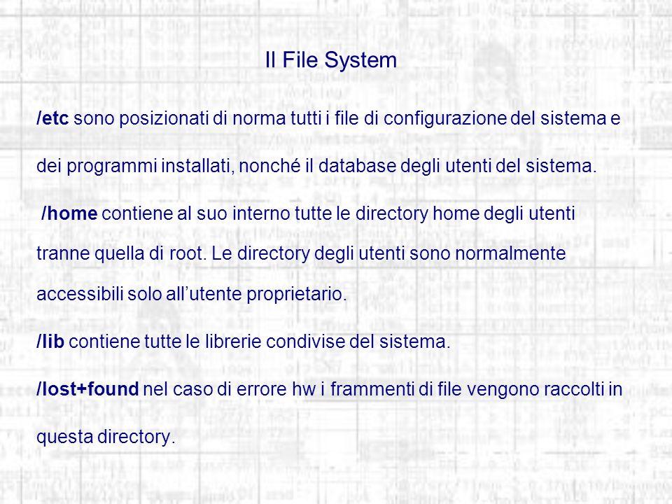 Il File System /etc sono posizionati di norma tutti i file di configurazione del sistema e dei programmi installati, nonché il database degli utenti del sistema.