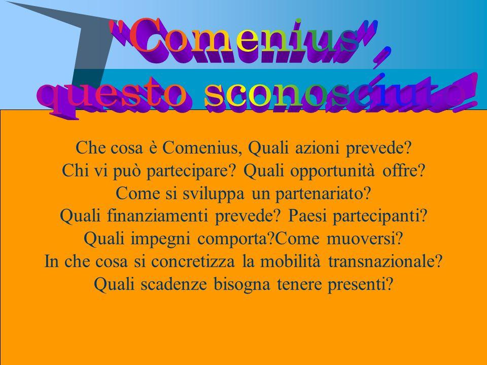 Che cosa è Comenius, Quali azioni prevede? Chi vi può partecipare? Quali opportunità offre? Come si sviluppa un partenariato? Quali finanziamenti prev