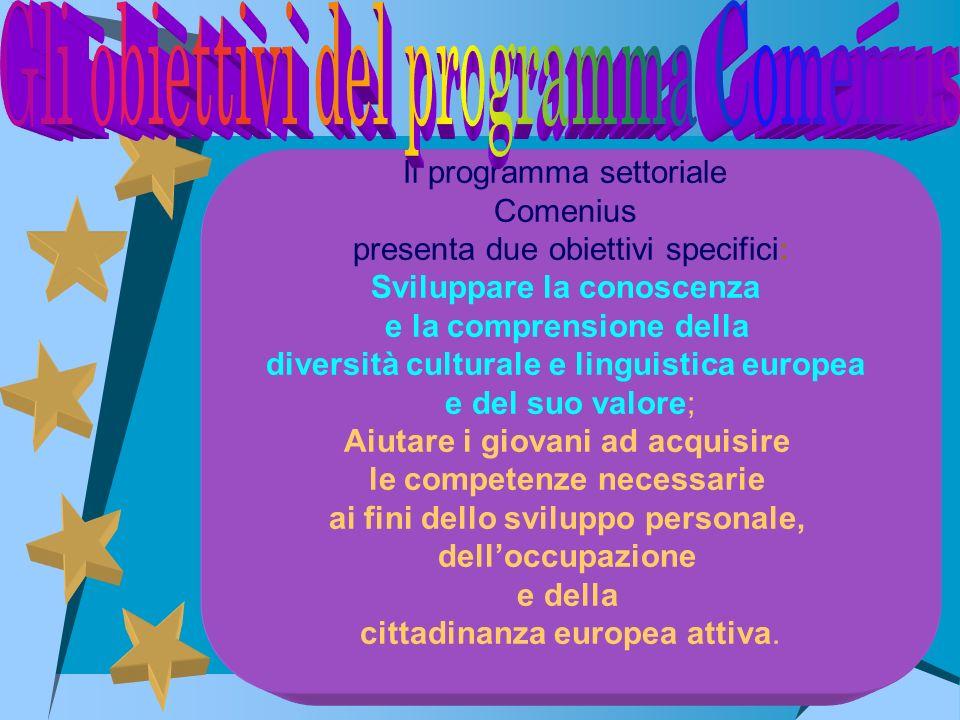 Il programma settoriale Comenius presenta due obiettivi specifici: Sviluppare la conoscenza e la comprensione della diversità culturale e linguistica
