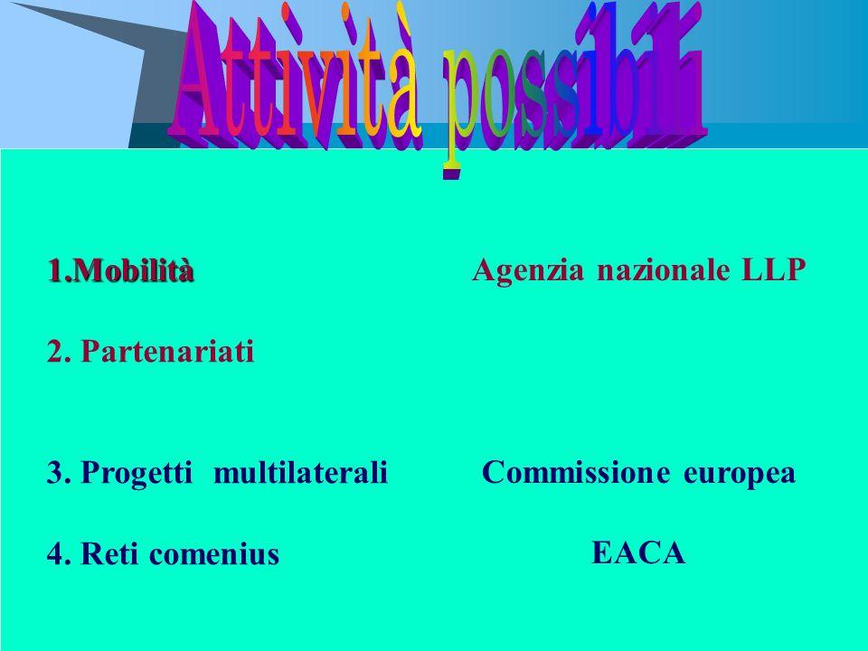 Agenzia nazionale LLP Commissione europea EACA 1.Mobilità 2. Partenariati 3. Progetti multilaterali 4. Reti comenius
