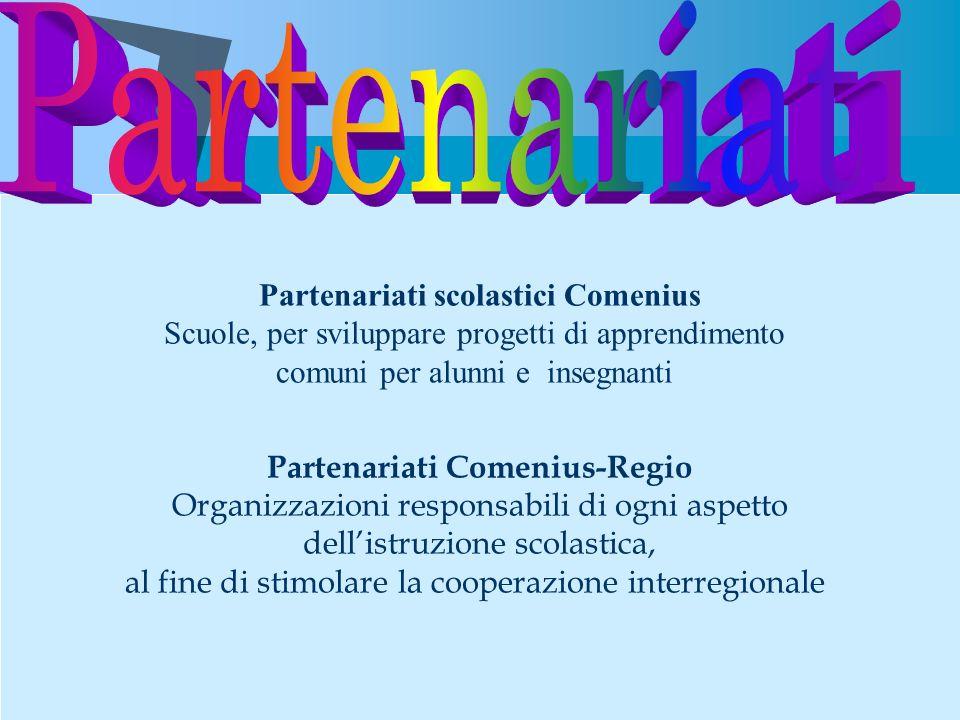 Partenariati scolastici Comenius Scuole, per sviluppare progetti di apprendimento comuni per alunni e insegnanti Partenariati Comenius-Regio Organizza