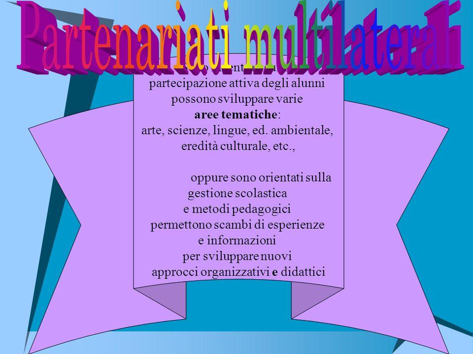 Sono incentrati sulla partecipazione attiva degli alunni possono sviluppare varie aree tematiche: arte, scienze, lingue, ed. ambientale, eredità cultu