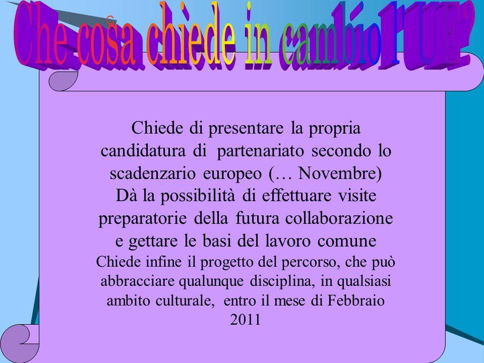 C Chiede di presentare la propria candidatura di partenariato secondo lo scadenzario europeo (… Novembre) Dà la possibilità di effettuare visite prepa