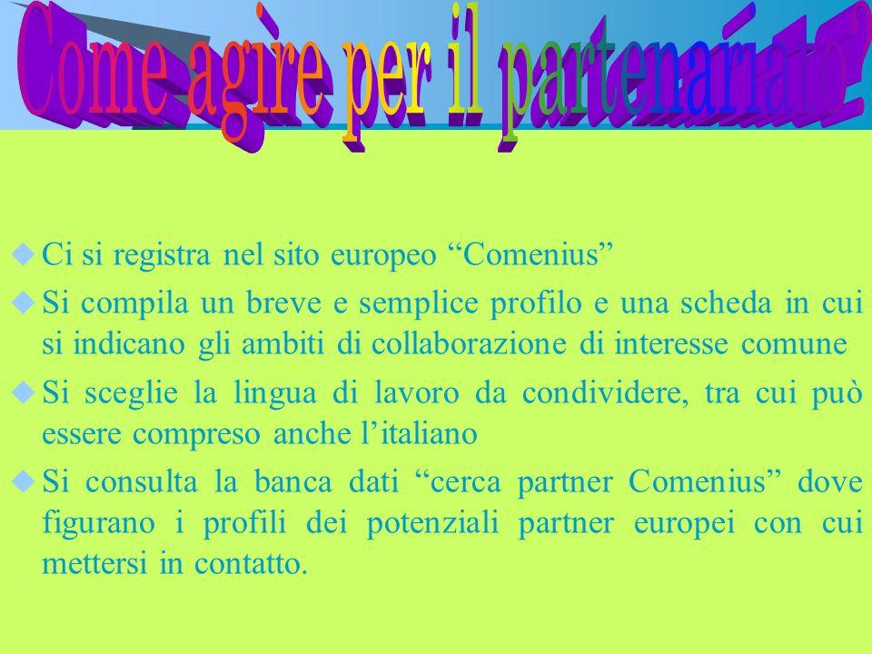 Ci si registra nel sito europeo Comenius Si compila un breve e semplice profilo e una scheda in cui si indicano gli ambiti di collaborazione di intere