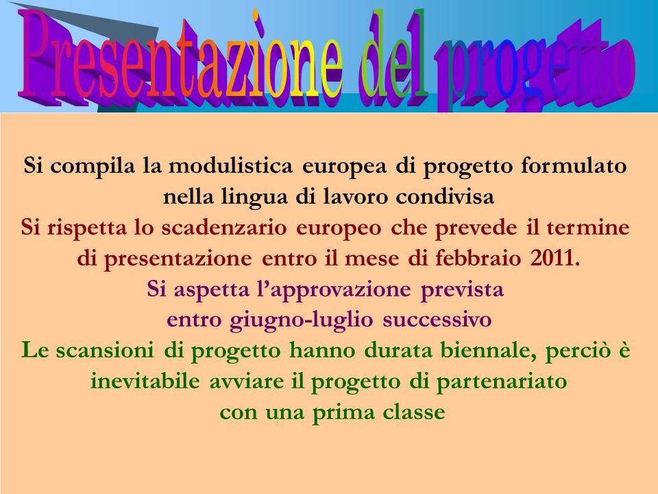 Si compila la modulistica europea di progetto formulato nella lingua di lavoro condivisa Si rispetta lo scadenzario europeo che prevede il termine di