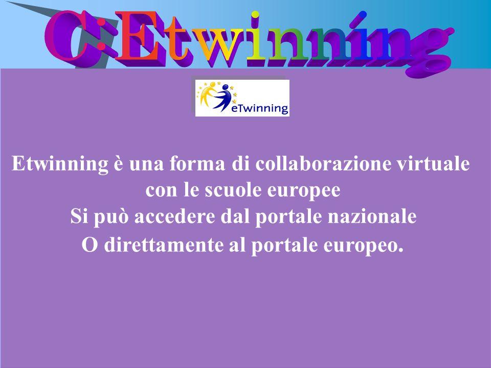 Etwinning è una forma di collaborazione virtuale con le scuole europee Si può accedere dal portale nazionale O direttamente al portale europeo.