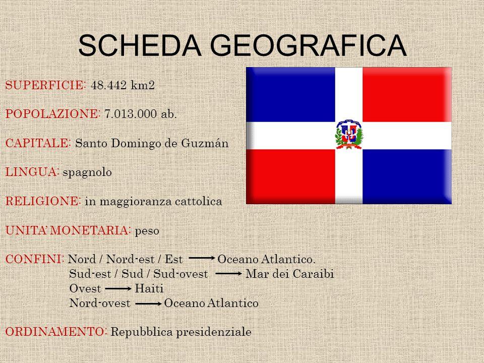 SCHEDA GEOGRAFICA SUPERFICIE: 48.442 km2 POPOLAZIONE: 7.013.000 ab. CAPITALE: Santo Domingo de Guzmán LINGUA: spagnolo RELIGIONE: in maggioranza catto