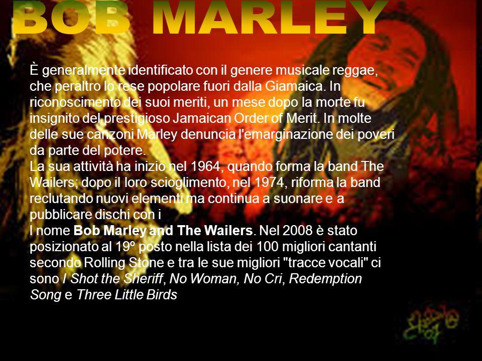 NAZIONALITA:JAMAICA GENERE:ROOTS REGGAE EARLY REGGAE ROCKSTEADY SKA PERIODO DI ATTIVITA:1962-1981 GRUPPI:THE WAILERS Album pubblicati:29 Studio:16 Live:4 Raccolte:9