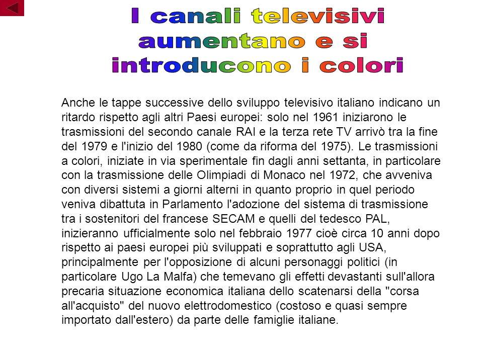 Anche le tappe successive dello sviluppo televisivo italiano indicano un ritardo rispetto agli altri Paesi europei: solo nel 1961 iniziarono le trasmissioni del secondo canale RAI e la terza rete TV arrivò tra la fine del 1979 e l inizio del 1980 (come da riforma del 1975).
