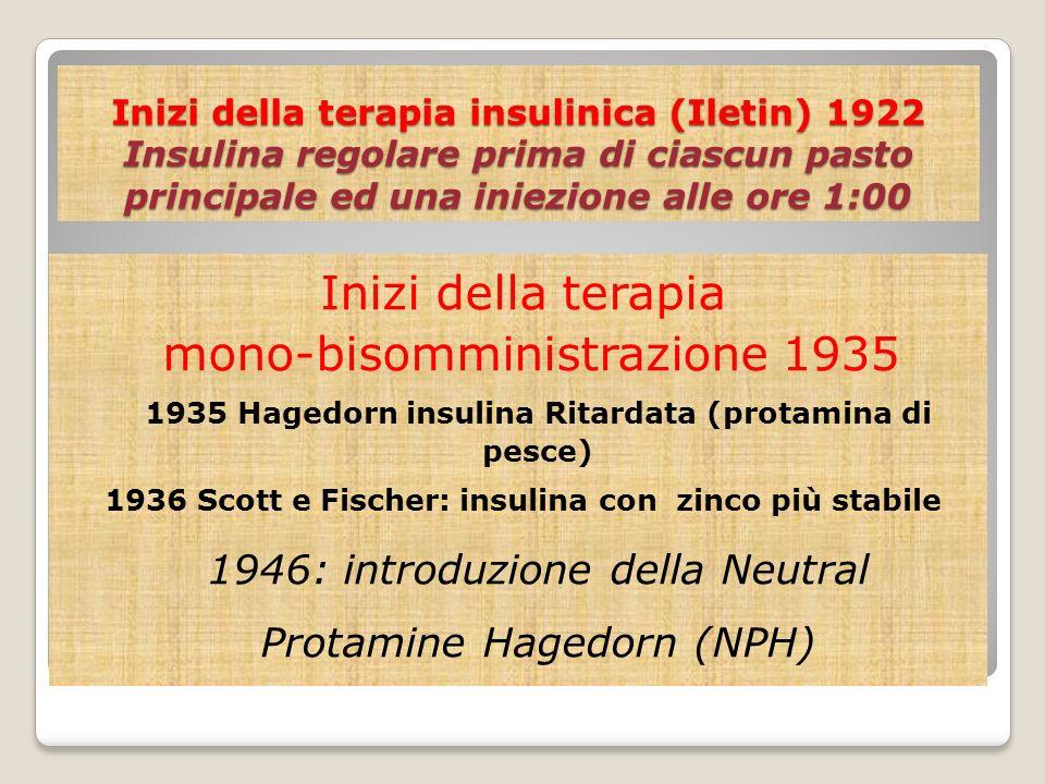 Inizi della terapia insulinica (Iletin) 1922 Insulina regolare prima di ciascun pasto principale ed una iniezione alle ore 1:00 Inizi della terapia mo