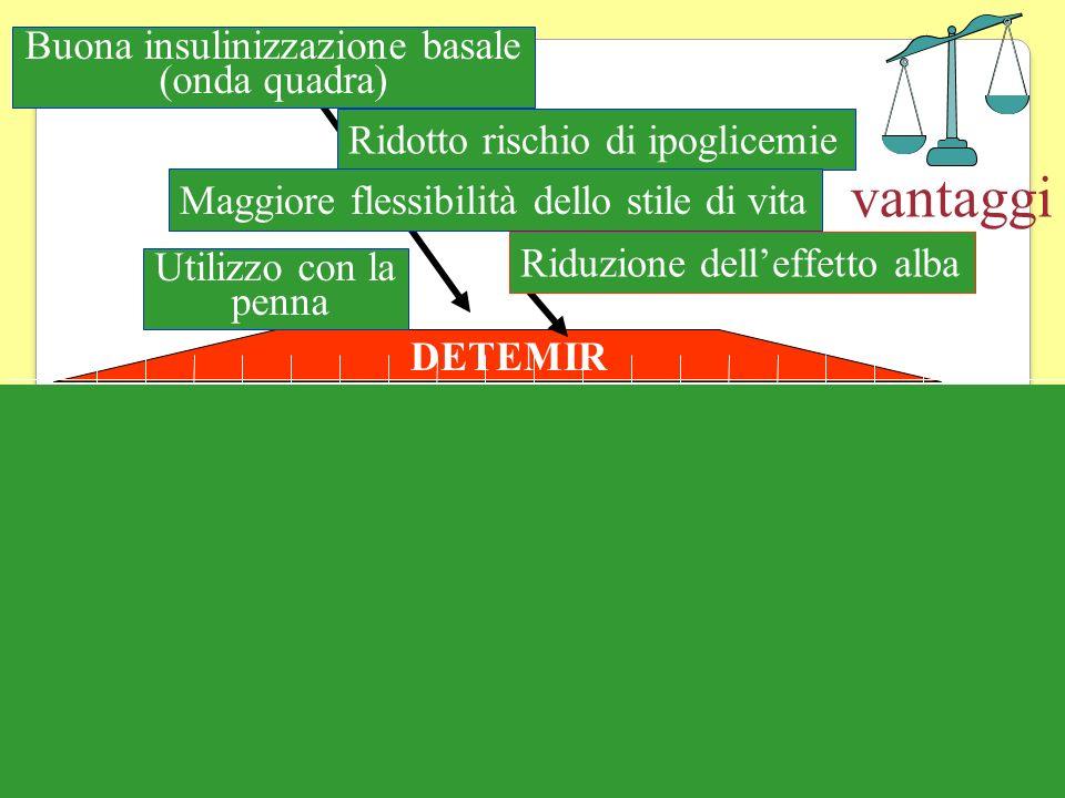 vantaggi DETEMIR Utilizzo con la penna Buona insulinizzazione basale (onda quadra) Ridotto rischio di ipoglicemie Maggiore flessibilità dello stile di