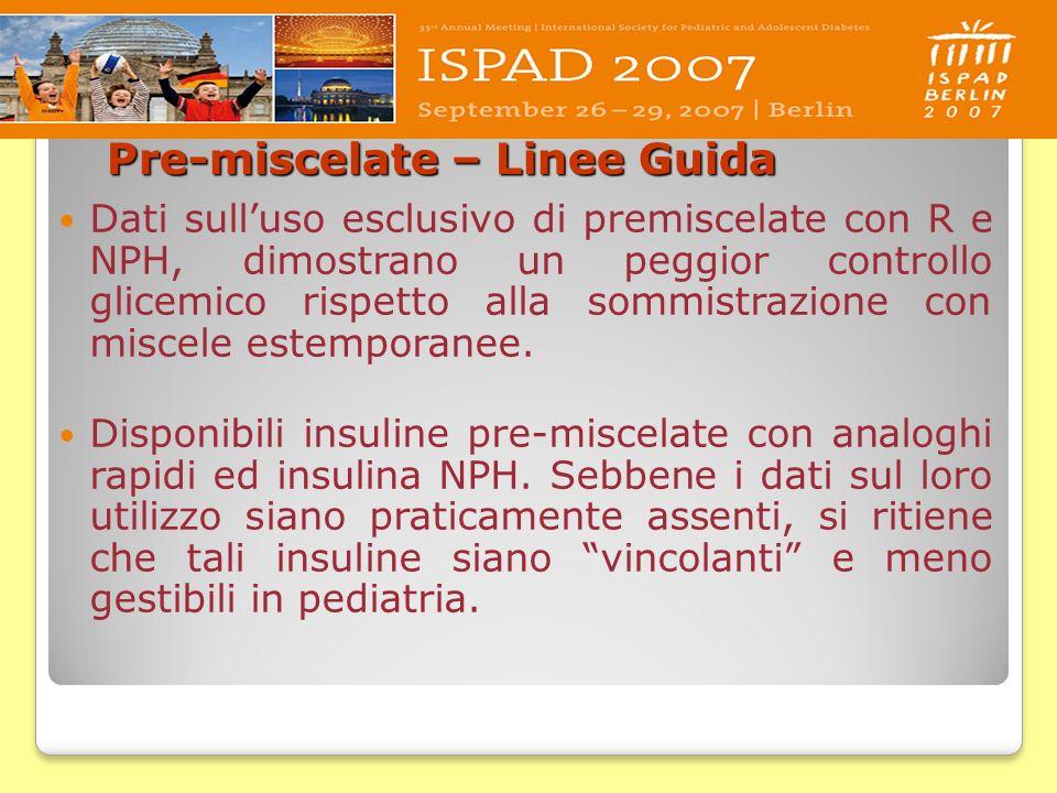 Pre-miscelate – Linee Guida Dati sulluso esclusivo di premiscelate con R e NPH, dimostrano un peggior controllo glicemico rispetto alla sommistrazione
