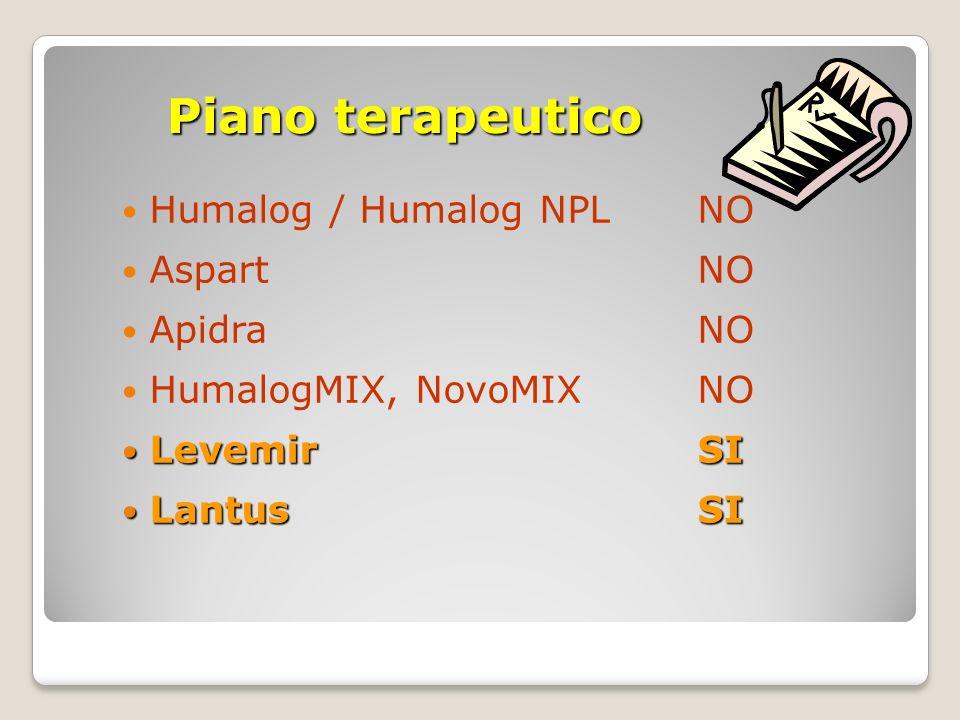 Piano terapeutico Humalog / Humalog NPLNO AspartNO ApidraNO HumalogMIX, NovoMIXNO LevemirSI LevemirSI LantusSI LantusSI
