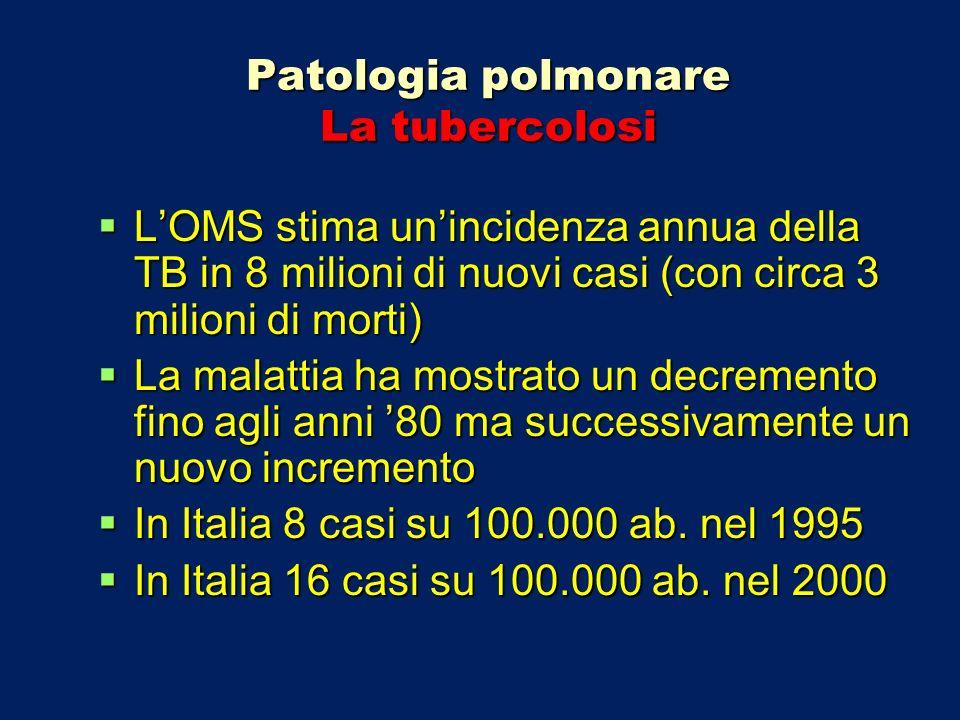 Patologia polmonare La tubercolosi Tubercolosi extrapolmonare post-primaria Si osserva principalmente in soggetti extra-europei e consegue in genere ad una reinfezione anche molti anni dopo la primaria.