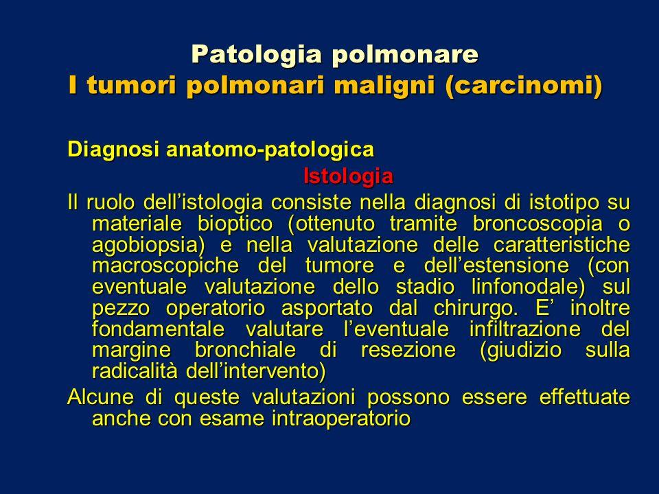 Patologia polmonare I tumori polmonari maligni (carcinomi) Diagnosi anatomo-patologica Istologia Il ruolo dellistologia consiste nella diagnosi di ist