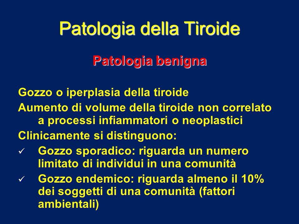 Patologia della Tiroide Patologia benigna Gozzo o iperplasia della tiroide Aumento di volume della tiroide non correlato a processi infiammatori o neo