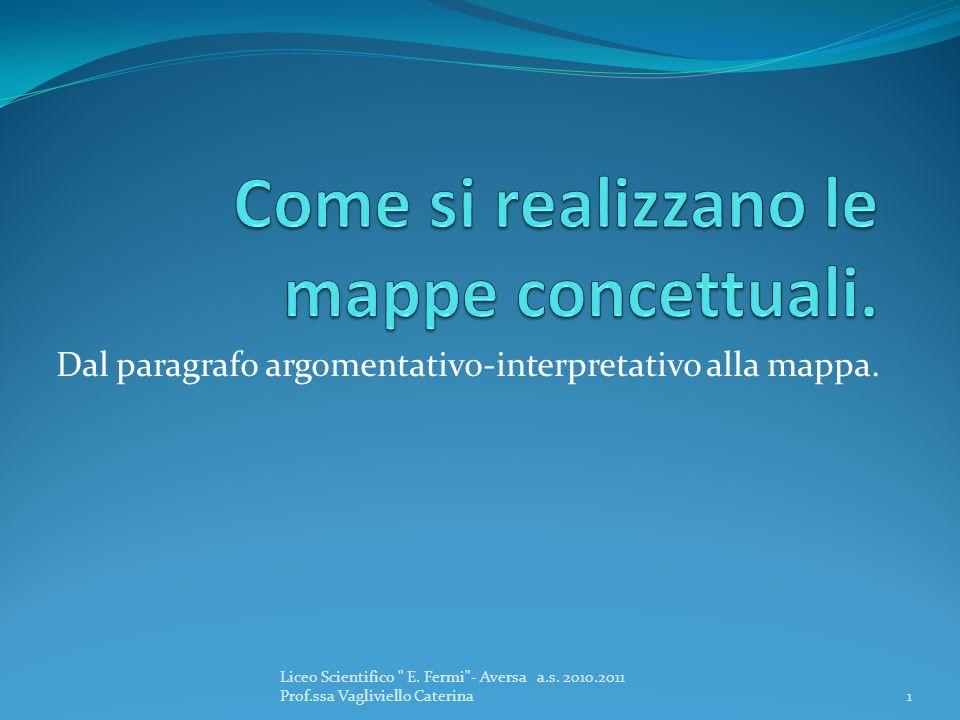 Dal paragrafo argomentativo-interpretativo alla mappa. Liceo Scientifico