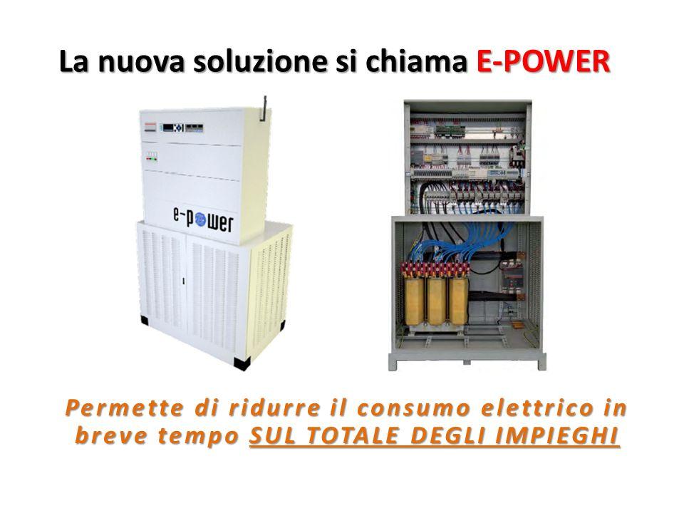La nuova soluzione si chiama E-POWER Permette di ridurre il consumo elettrico in breve tempo SUL TOTALE DEGLI IMPIEGHI