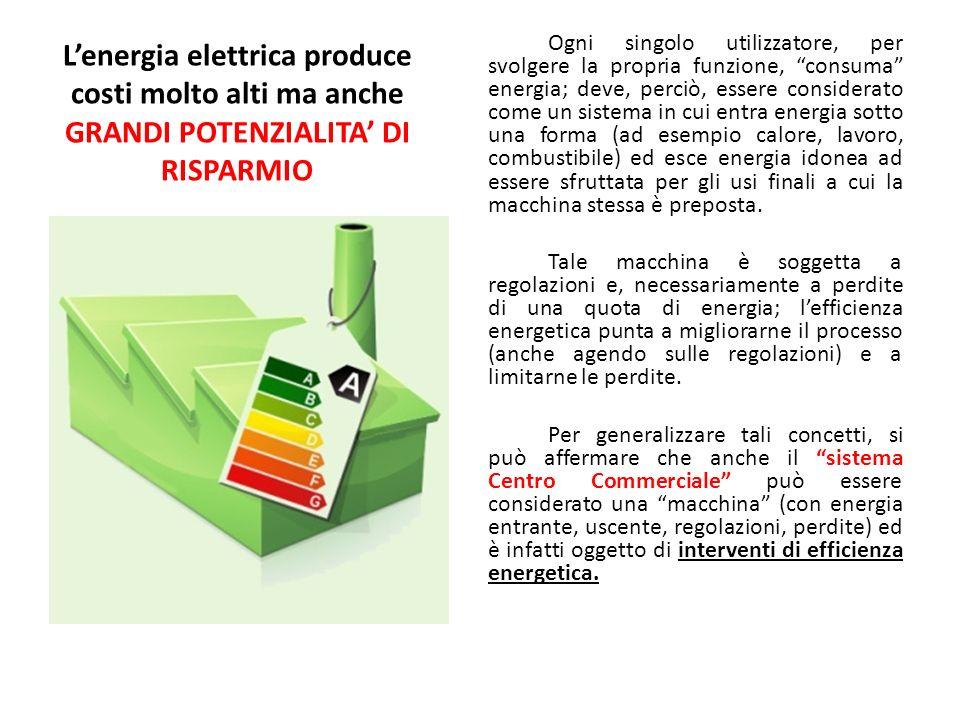 Lenergia elettrica produce costi molto alti ma anche GRANDI POTENZIALITA DI RISPARMIO Ogni singolo utilizzatore, per svolgere la propria funzione, con