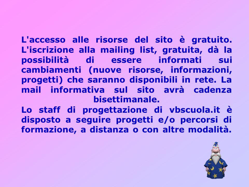 L'accesso alle risorse del sito è gratuito. L'iscrizione alla mailing list, gratuita, dà la possibilità di essere informati sui cambiamenti (nuove ris
