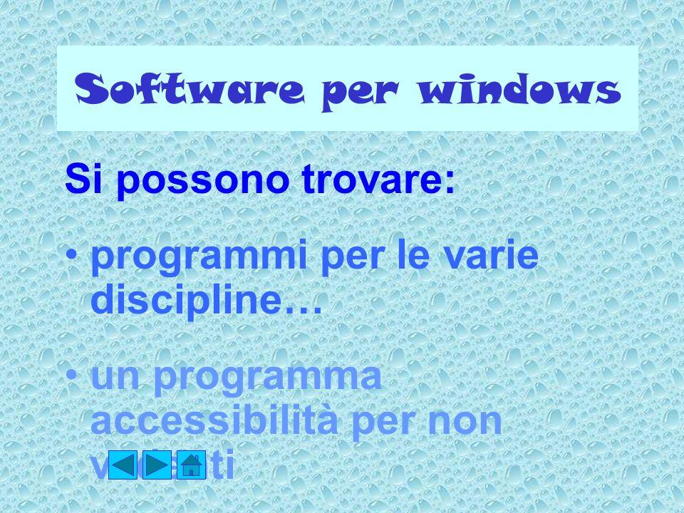 Software per windows Si possono trovare: programmi per le varie discipline… un programma accessibilità per non vedenti