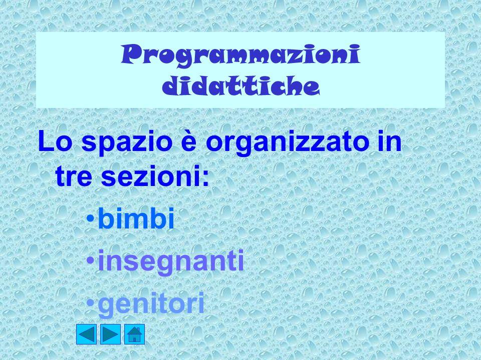 Programmazioni didattiche Lo spazio è organizzato in tre sezioni: bimbi insegnanti genitori