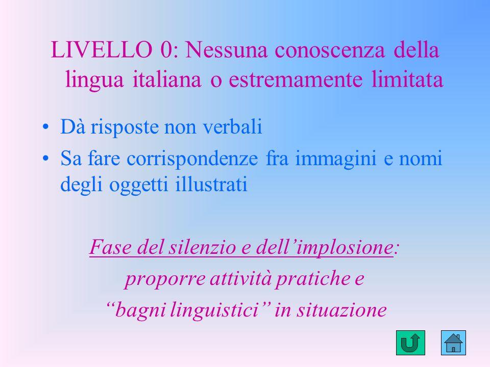 LIVELLI DI CONOSCENZA DELLA LINGUA ITALIANA AI QUALI SI PUO RICONDURRE LALLIEVO DOPO LA RICOGNIZIONE 1.LIVELLO LIVELLO O 2.LIVELLO LIVELLO 1 3.LIVELLO