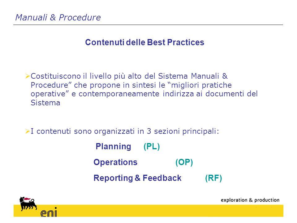 Manuali & Procedure Contenuti delle Best Practices Costituiscono il livello più alto del Sistema Manuali & Procedure che propone in sintesi le migliori pratiche operative e contemporaneamente indirizza ai documenti del Sistema I contenuti sono organizzati in 3 sezioni principali: Planning(PL) Operations (OP) Reporting & Feedback (RF)