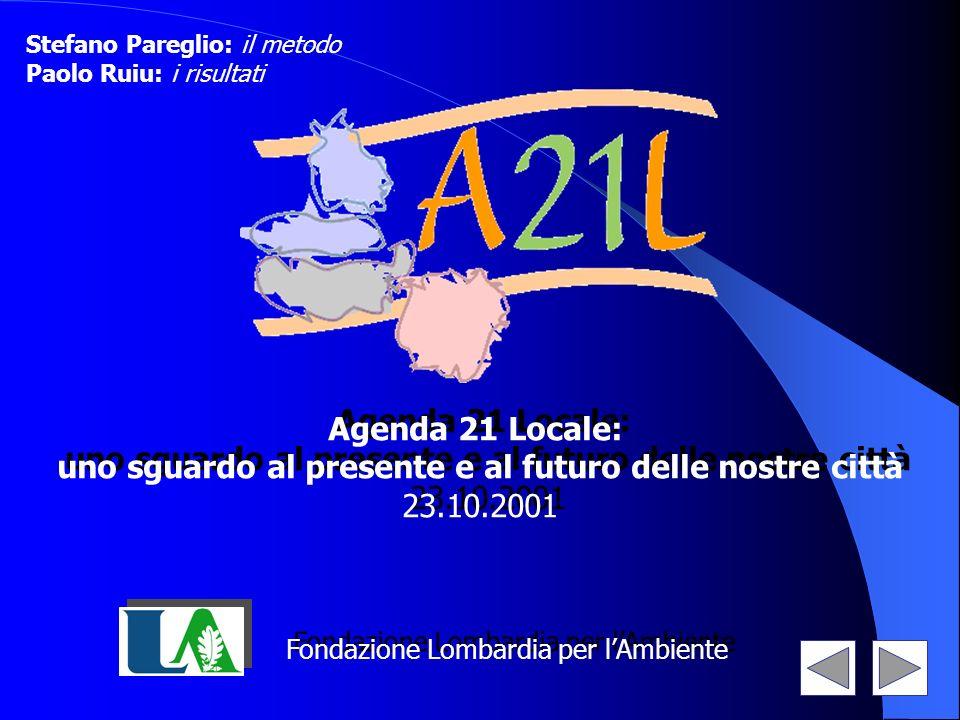 Fondazione Lombardia per lAmbiente Agenda 21 Locale: uno sguardo al presente e al futuro delle nostre città 23.10.2001 Agenda 21 Locale: uno sguardo a