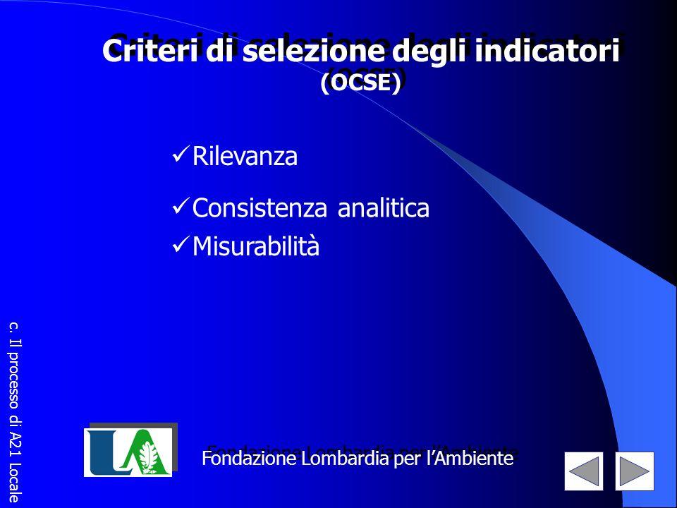 Criteri di selezione degli indicatori (OCSE) Criteri di selezione degli indicatori (OCSE) Rilevanza Consistenza analitica Misurabilità Fondazione Lomb