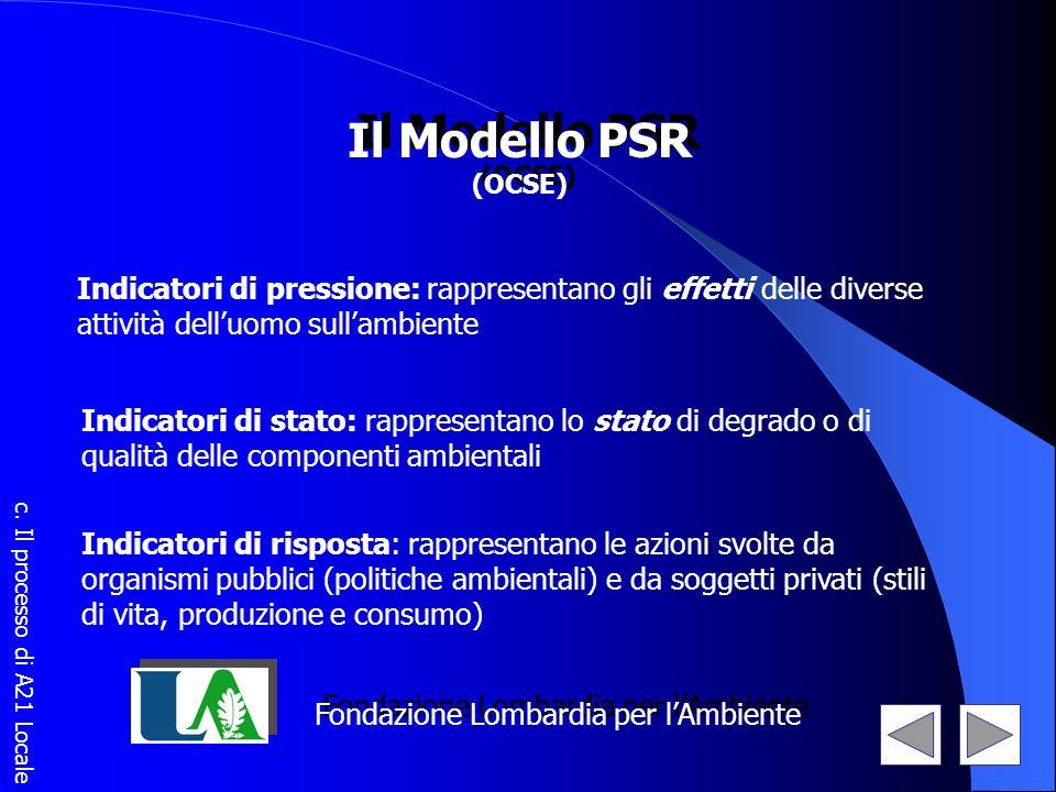 Il Modello PSR (OCSE) Il Modello PSR (OCSE) Indicatori di pressione: rappresentano gli effetti delle diverse attività delluomo sullambiente Indicatori