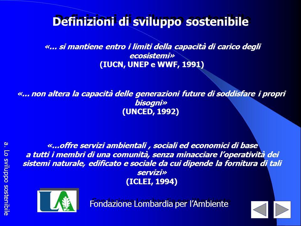 Fondazione Lombardia per lAmbiente Definizioni di sviluppo sostenibile «… si mantiene entro i limiti della capacità di carico degli ecosistemi» (IUCN,